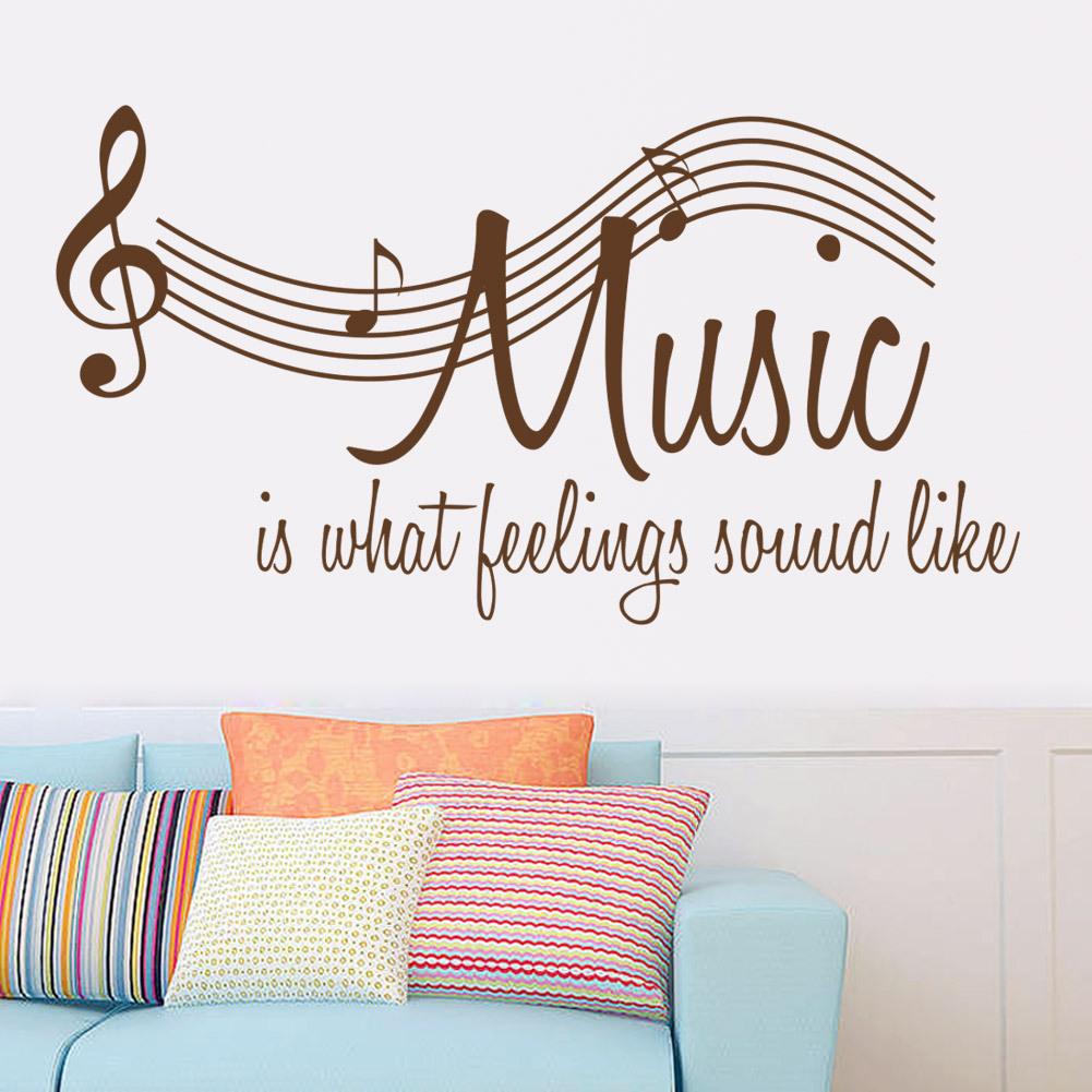 Music Wall Sticker 2015 New Character Music Sayings Wallpaper Note Modern Mural Art Home Decor