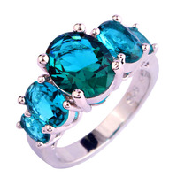New Sparkling Green Topaz 925 Silver Ring Oval Cut Size 6 7 8 9 10 Wholesale