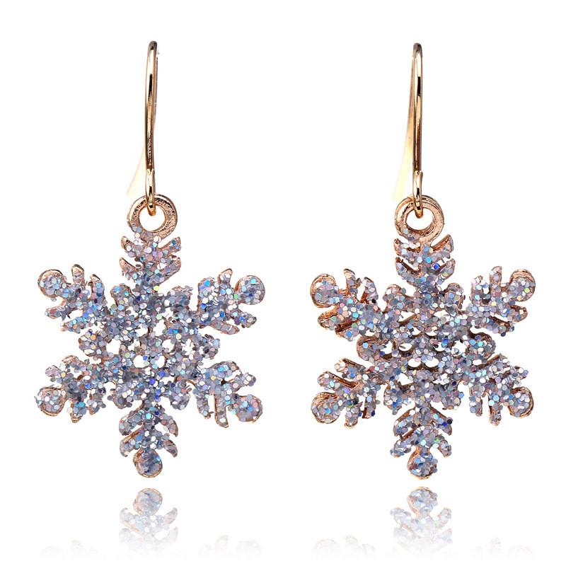 New christmas gift snowflake earrings oorbellen flower