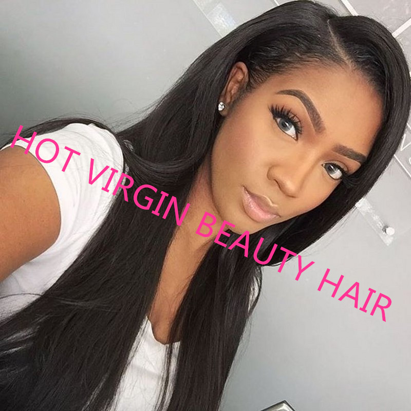 8A Straight Glueless Full Lace Human Hair Wig For Black Women Mongolian Virgin Hair Lace Front Wigs With Baby Hair Bob Wig<br><br>Aliexpress