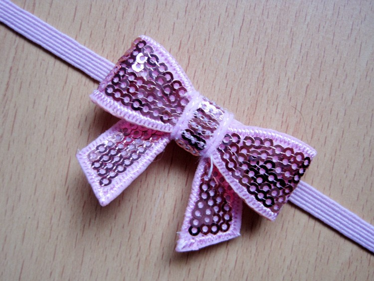 1pc Baby's Sequins bow hairband 3 hair accessories flower worn edges headband baby satin ribbon hairband 9 colors