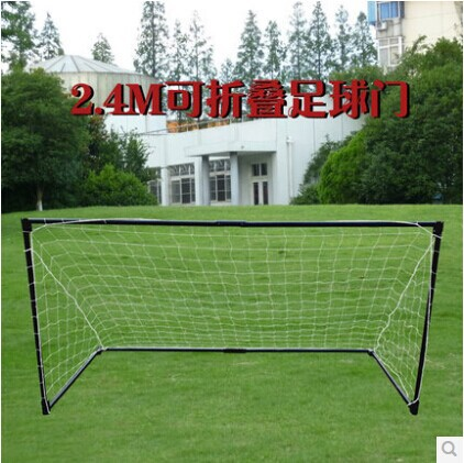 3 or 5 people ault size steel pipe football goals 2.4*1.2m black soccer goals floding goal including net christmas gift(China (Mainland))