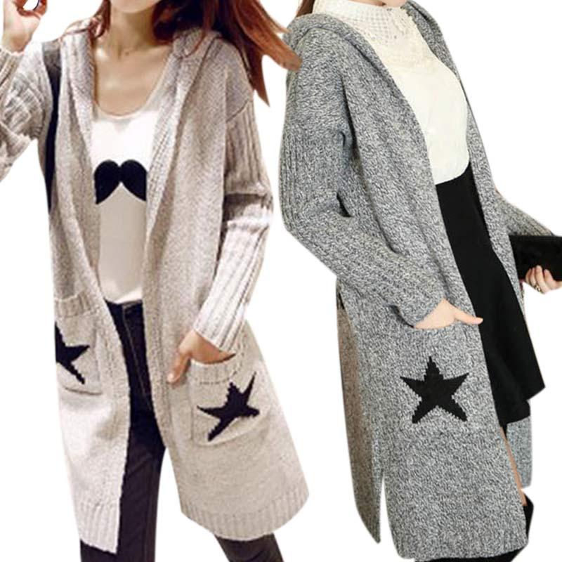 Autumn Winter Fashion Women Long Sleeve Loose Knitting Cardigan Hooded Sweater Knitwear Jacket Coat(China (Mainland))