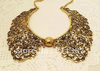 $15 off per $150 order Free shiping,golden palace restoring ancient Metal hollow out sweater chain necklace RS01012