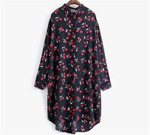 2016 Women Long Bouse Casual Shirts Loose Cherry Printed Chiffon Blouse Women Long Shirts Ladies Turn-down Collar Plus Size Tops