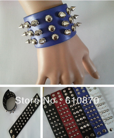 Punk rivet leather bracelet jewelry Rock Wrap Wristband women men Bangle Leather Bracelet - Jianing Body Jewelry's store