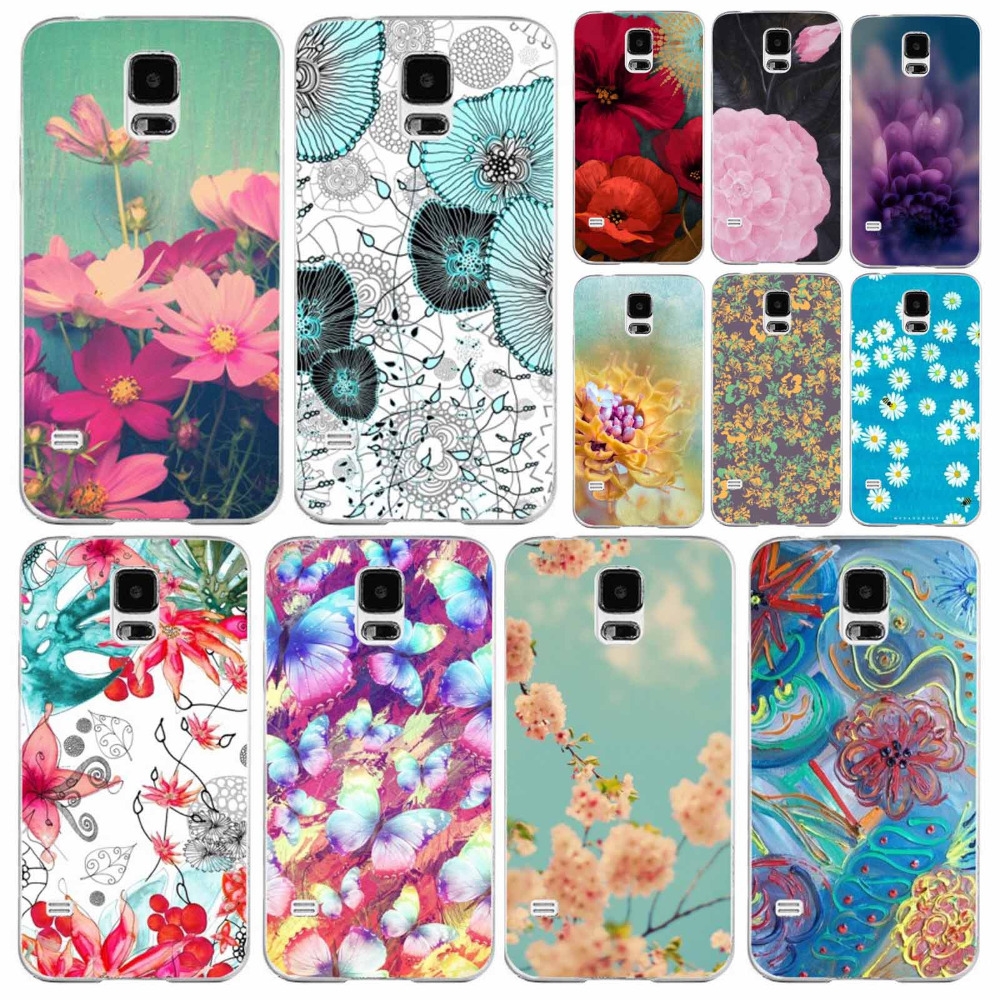Phone Cover for Samsung GALAXY S5 Flowers Printed Fashion Free Shipping Transparent Edge Hard Plastic Protective Case in Stock(China (Mainland))