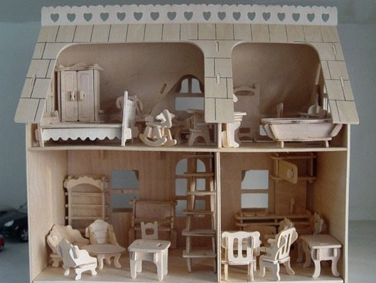 Free Shipping Educational 3D Wooden Miniature Toy House, DIY Wood House With 34pcs Furnitures Construction Model Kit Toys(China (Mainland))