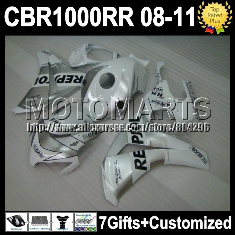 7giftsFor HONDA Repsol White CBR1000RR CBR 1000 1000RR NEW K8163 CBR1000 RR HOT Silvery 08 09 10 11 2008 2009 2010 2011 Fairing(China (Mainland))