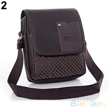 Fashion Men s Faux Leather Grid Cover Briefcase Crossbody Messenger Shoulder Bag 4CRI
