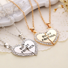 2015 New Fashion 2pcs/set Gold Silver Crystal Broken Heart Best Friend Necklaces Pendants For Women Fine Jewelry whol