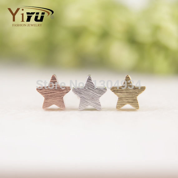 2016 New Fashion Jewelry Little Star Stud Earrings for Women Copper Brushed Star Small Earrings Party Gift E025(China (Mainland))