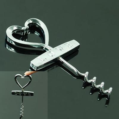 Free Shipping Love Heart Corkscrew Wedding Decor Favors Red Wine Bottle Cork Screw Opener(China (Mainland))