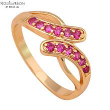Girlfriend Rose ruby 18K Gold Plated Fashion Jewelry Golden Element Ring Wedding gift Sz #7 #7.75 JR1860 - TaoLiHao Ltd. store