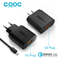 For Qualcomm Quick Charge 2 0 18W CRDC USB Charger Smart Fast Mobile Phone Charger for