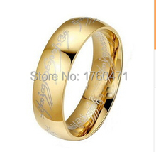 "2015 New 6MM Stainless steel Lord men rings 18K Gold Ring ""The One Ring"" Rings Bilbo's Hobbit Ring+Chain as Gift"