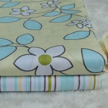 100*160cm 2pcs/lot new yellow/white big flower pastoral blue stripe cloths 100% cotton twill cloth DIY for home decor fabric(China (Mainland))