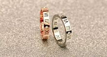 whtie/pink gold filled titanium steel roman letter couple rings aneis  femininos, fashion wedding rings for men and women bijoux(China (Mainland))