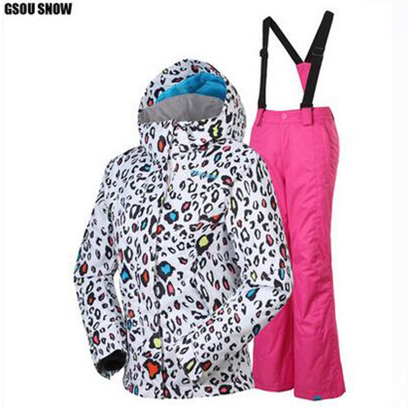 Gsou snow ski suit set children ski jacket+pants for girl and boy outdoor windrproof snowboarding jackets girl sport skiing suit(China (Mainland))