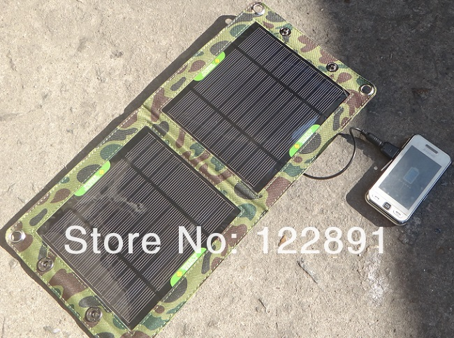 High Quatily 7W Solar Charger Outdoor Mono Solar Panel Charger Folding Solar Charging USB Solar Battery Charger Free Shipping(China (Mainland))