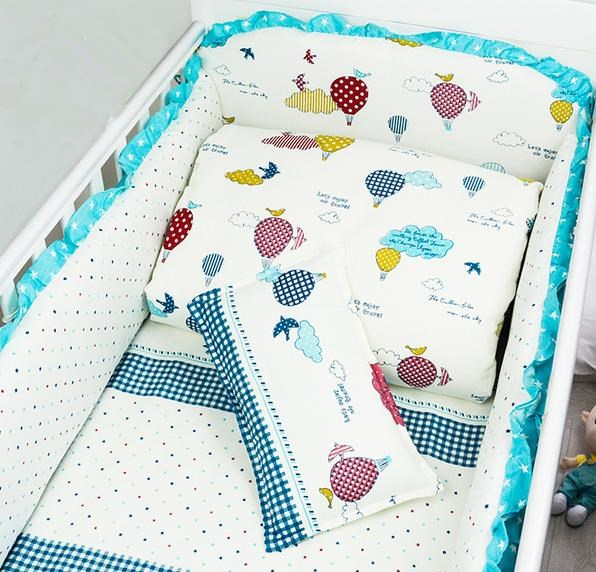 Nordic Style Pattern Cotton Reactive Printing Baby Bumper Non-fluorescent Agent Without Stimulation Baby Bedding Sets(China (Mainland))