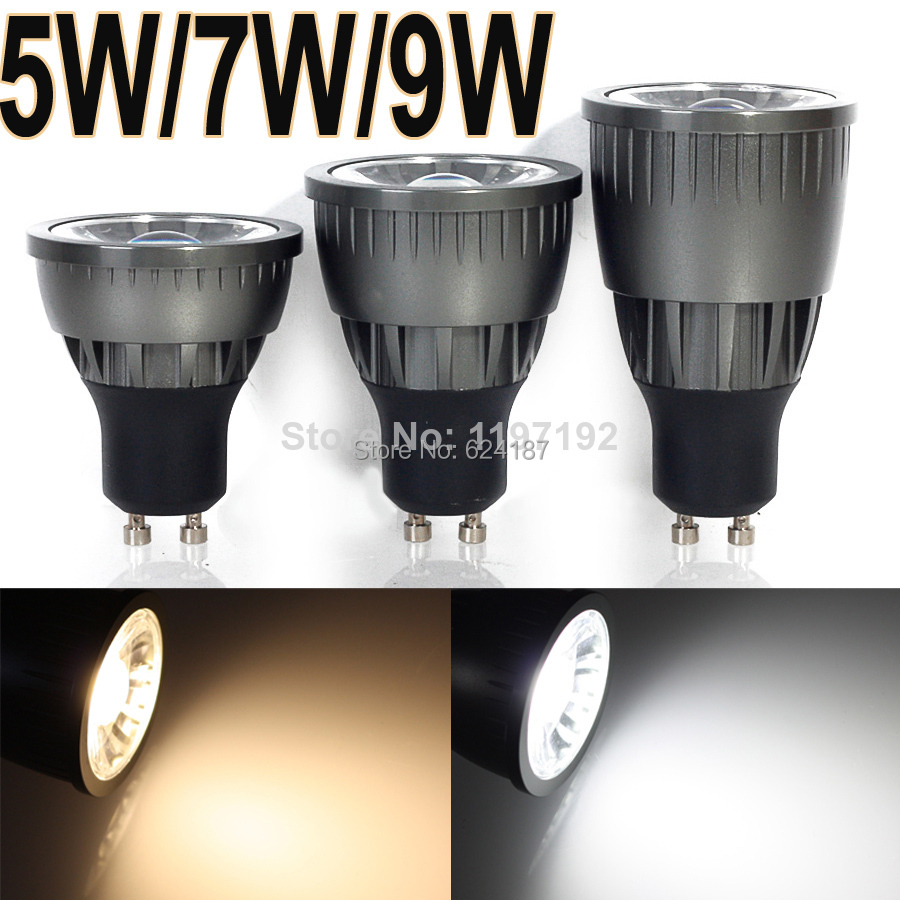 10 pcs GU10 5W/7W/9W Dimmable COB LED Sport light lamp High Power bulb More than 60 degrees AC85-265V Free Shipping(China (Mainland))