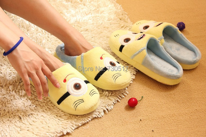 New 2014 Minions Slippers Women Winter Floor Slipper Despicable Me Home Flats Christmas Gift KF006(China (Mainland))