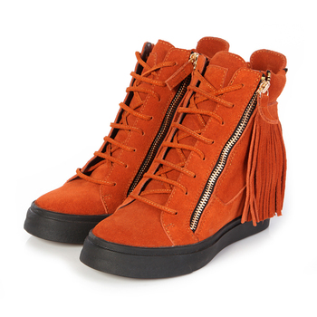 Big Size Free Shipping GZ Zipper Sneakers For Women Tassels Height Increasing Genuine Leather All Original Logo Wedge Men Shoes