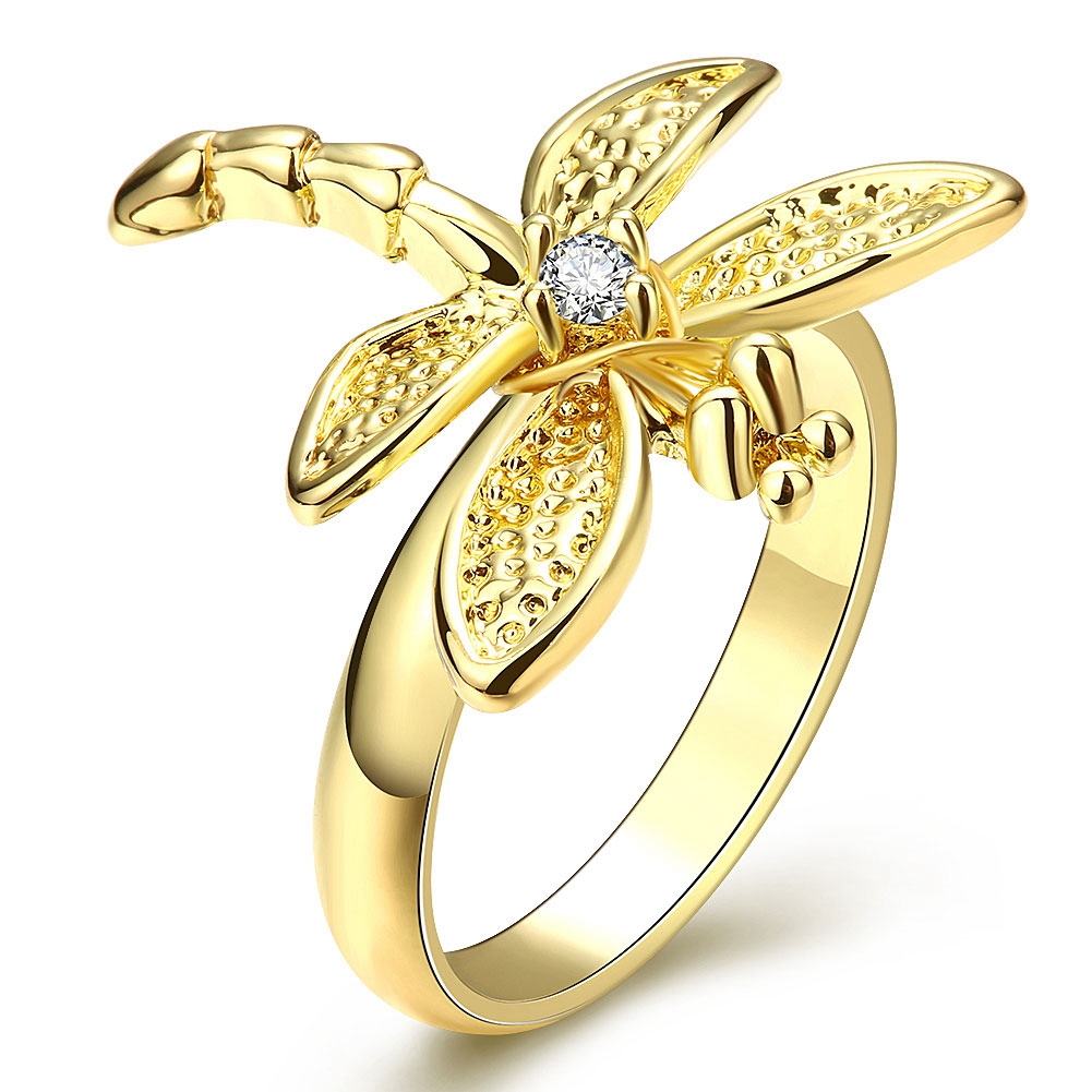 Hot Sale Lovely Dragonfly With CZ Diamond Cubic Zirconia Woman Finger Rings 18K Gold Plated Accessories Jewelry Size 6-7-8(China (Mainland))