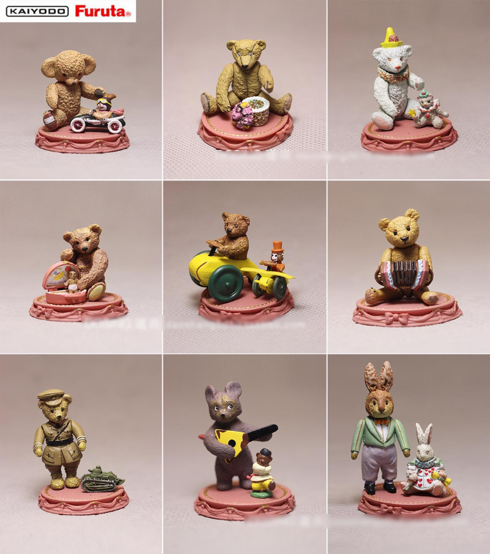 9pcs/lot 5cm Teddy Bear action figures set Casual Time Scene 5cm Teddy Bear figures pvc toy doll for collection best kids toys(China (Mainland))