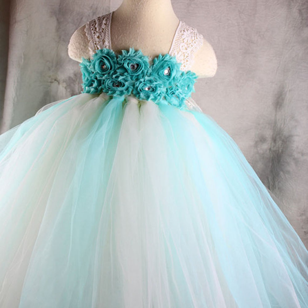 Exactly As Pic Mint Flower Girl Tutu Lace Straps Dresses Ankle Length Party Flower Tutu Dress For Girls Baby PT40(China (Mainland))
