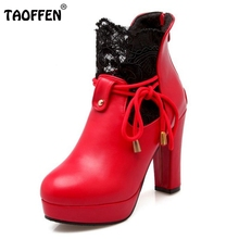 Buy Ladies High Heel Shoes Women Square Heels Boots Fashion Lace Platform Wedding Shoes Winter Warm Boots Footwear Size 34-39 for $26.70 in AliExpress store