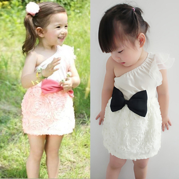 New Baby Kids  One Shoulder Lace dress Toddlers Girls One Piece Dress Bow-knot  1-7Y Free shipping & Dropshipping