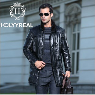 2014 Men's Fashion Genuine Sheepskin Leather Jackets Black Long Down Leather Coats With Mandarin Real Mink Fur Collar For Winter