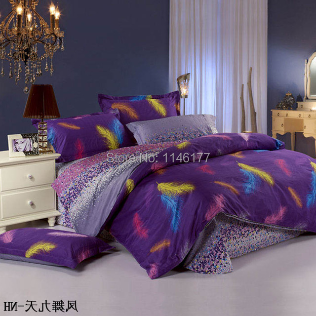 Ywxuege Feather Purple Bed Sheet 3D Bedding set/Bedspread 100%Cotton 4pcs Queen King Size Duvet Cover linens Sets Free Shipping(China (Mainland))