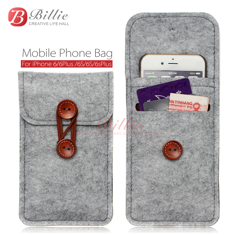 phone bag For iPhone 6s 7 Plus 5.5 inch case For iPhone 6 7 4.7 inch bags mobile phone bags cases Case Cover Wool Felt Wallet(China (Mainland))