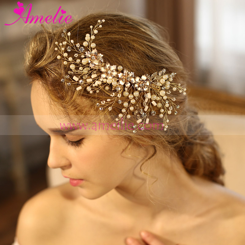 Painted Flower and Pearl Princess Hair Clip Wedding Hair Accessories Bride Wedding Jewellery(China (Mainland))