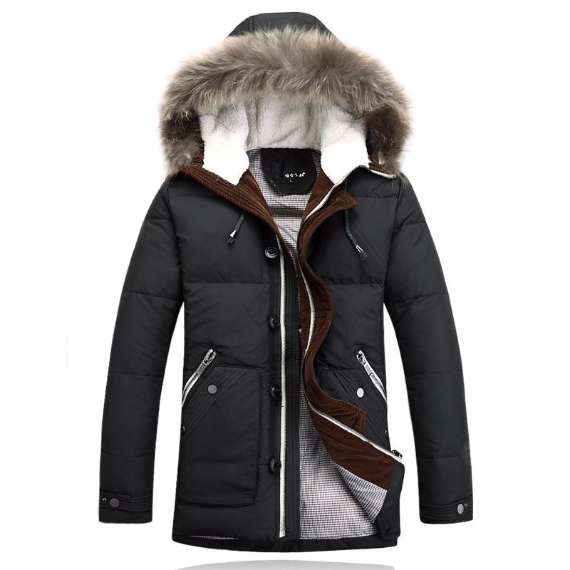 Пуховик капюшон, бренд пуховик куртки зима куртка мужчины пальто 80% белый пух толстый пиджаки настоящее мех мужчины в парка 4xl