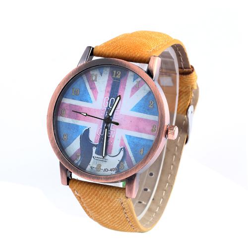 Fashion Ultrathin Quartz Watches Cowboy Leather Watch Casual Unisex Dress Wristwatches British Flag Guitar Printing - Colour Wind Technology Co., LTD store