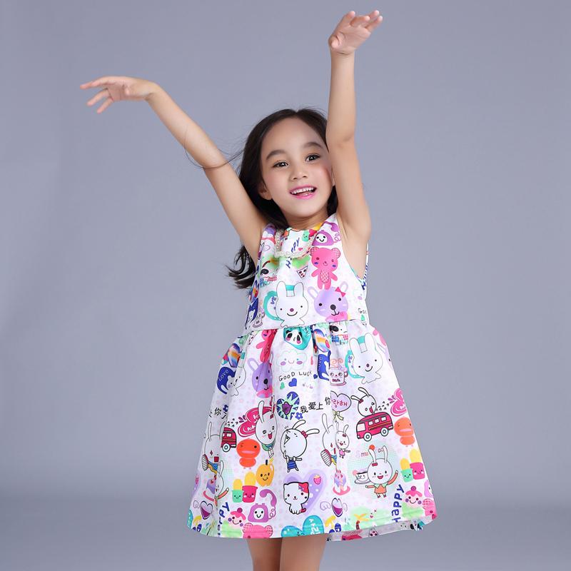 2016 New Girls Minnie Dress cartoon bunny cotton dress cute dressCharacter Dress Dot bike Puppy dogs