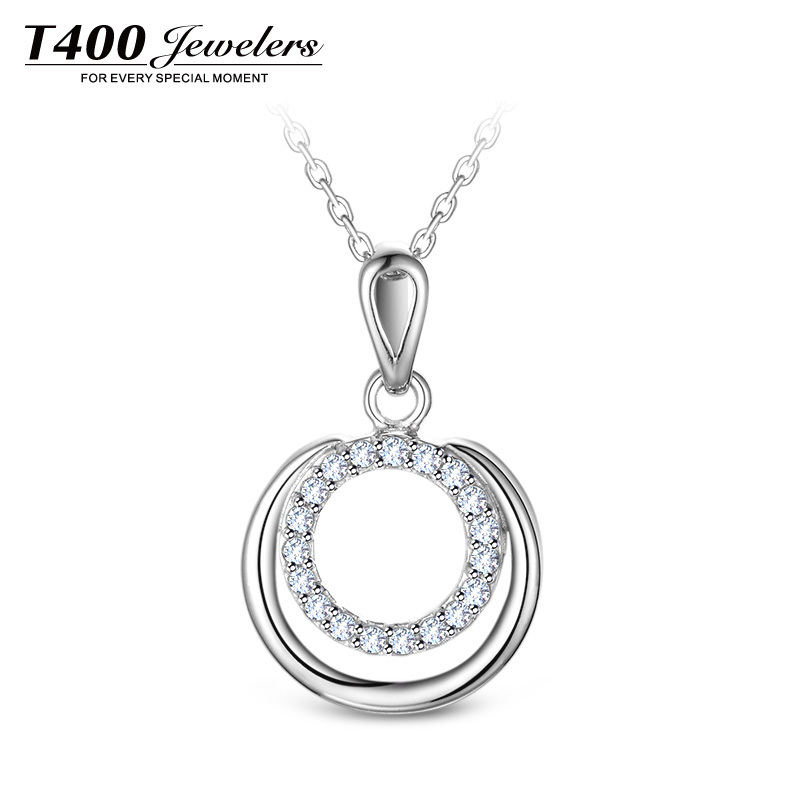 T400 Jewelers Women's Fashion 925 Sterling Silver Cubic Zirconia Round Pattern Pendant Necklace 40cm White #10835(China (Mainland))