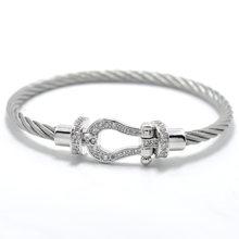 J.K bracelet manchette Male femme love bijoux Crystal Bracelets bangles For Fashion stainless steel Jewelry Men Women bangle(China)