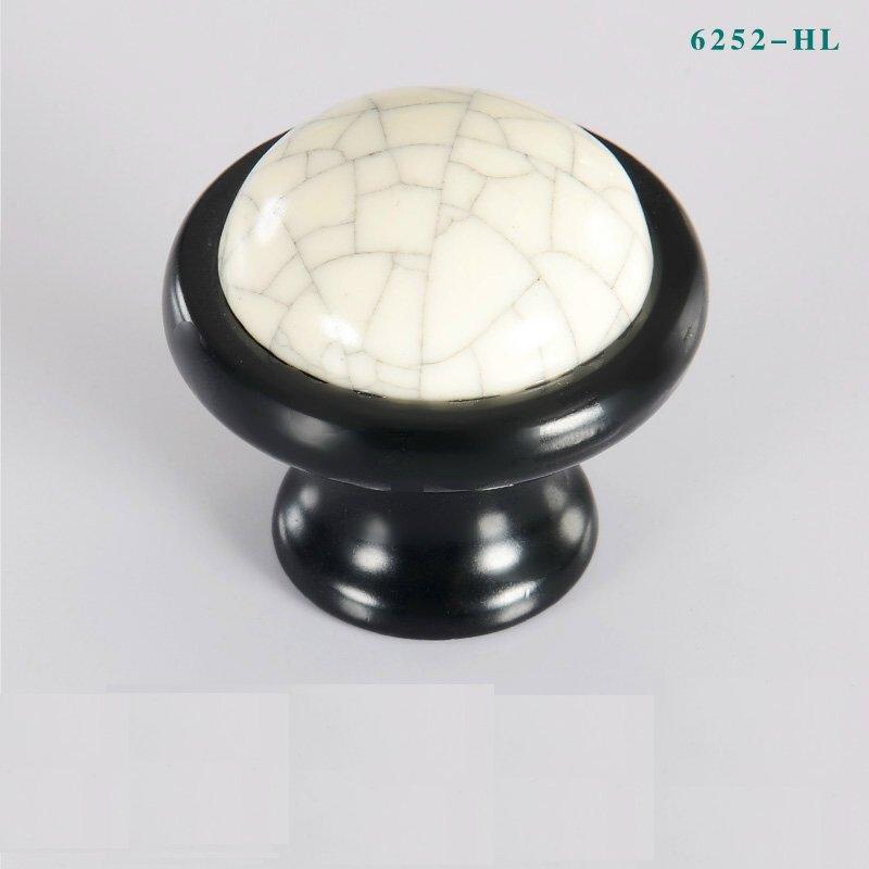 Гаджет  HL6252 Single Hole Crack Black Ceramic Wardrobe Cabinet Knob Drawer Door Pull Handles   None Мебель
