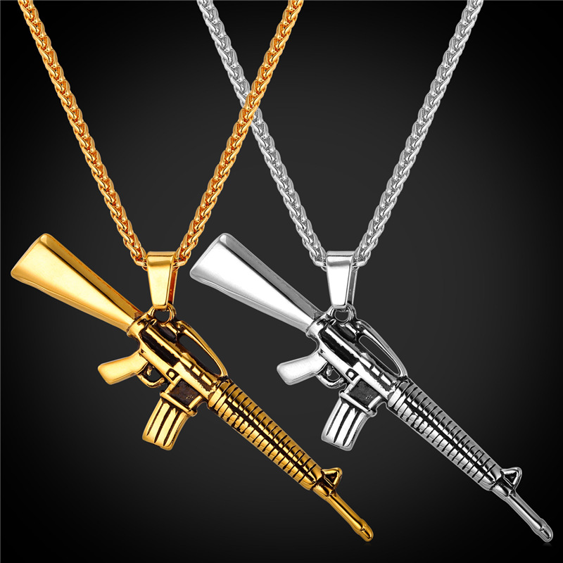 Rifle Shape Pendant & Necklace Rock Punk Style Cool Jewelry 316L Stainless Steel/18K Real Gold Plated Chain For Men 2016 GP1847(China (Mainland))