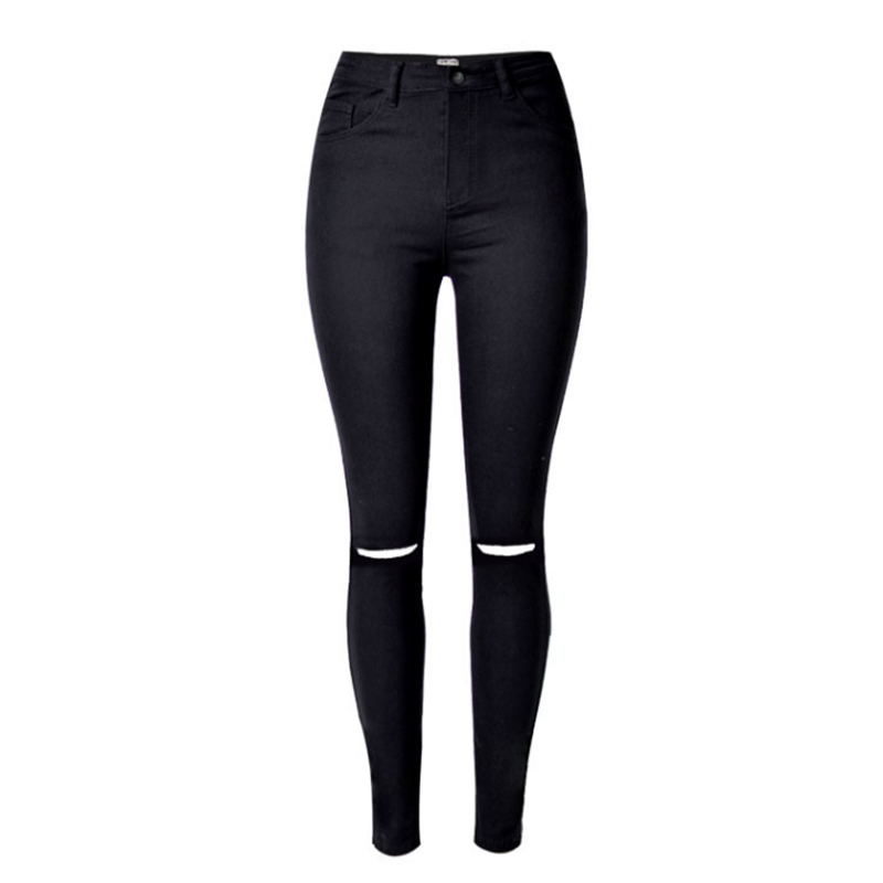 2016 new women black cut high waist jeans taille haute. Black Bedroom Furniture Sets. Home Design Ideas