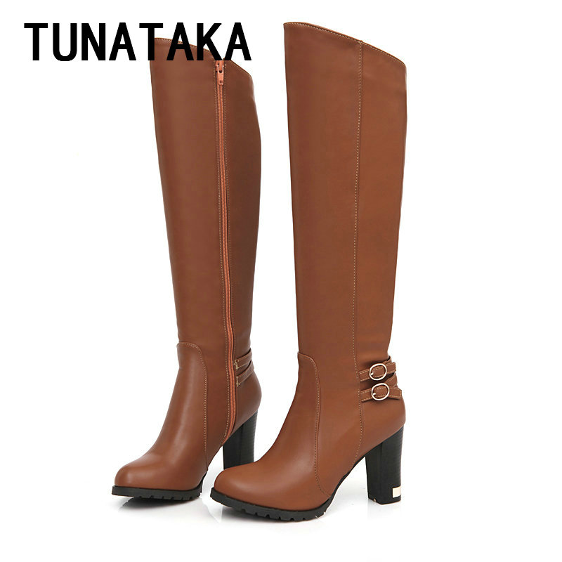 New hot 2013 ladies fashion PU leather knee high boots winter thick heel platform shoes sexy high heels wholesale 45% off USA 12<br><br>Aliexpress