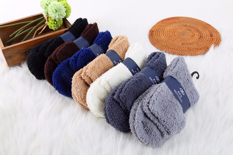 Hot Warm Men Middle Socks Winter Solid Color No Show Socks High Quality Super Soft Coral Fleece Sleeping Sock 2016 Man Clothing (5)
