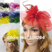 3pcs/lot Feather and flower Fascinator Hat with black headband- wedding, ladies day - choose any colour(China (Mainland))