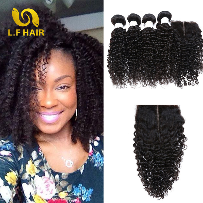 8a Peruvian Kinky Curly Virgin Hair With Closure Queen Peruvian Virgin Hair With Closure 3 Bundles 3 Part Closure With Bundles<br>