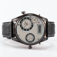 Three Time Zone Army Military OULM 3581 Men Watch With Leather Strap Quartz Japan Movt Quartz